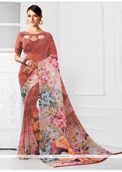 Grandiose Georgette Print Work Printed Saree