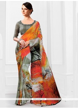Adorning Georgette Multi Colour Printed Saree