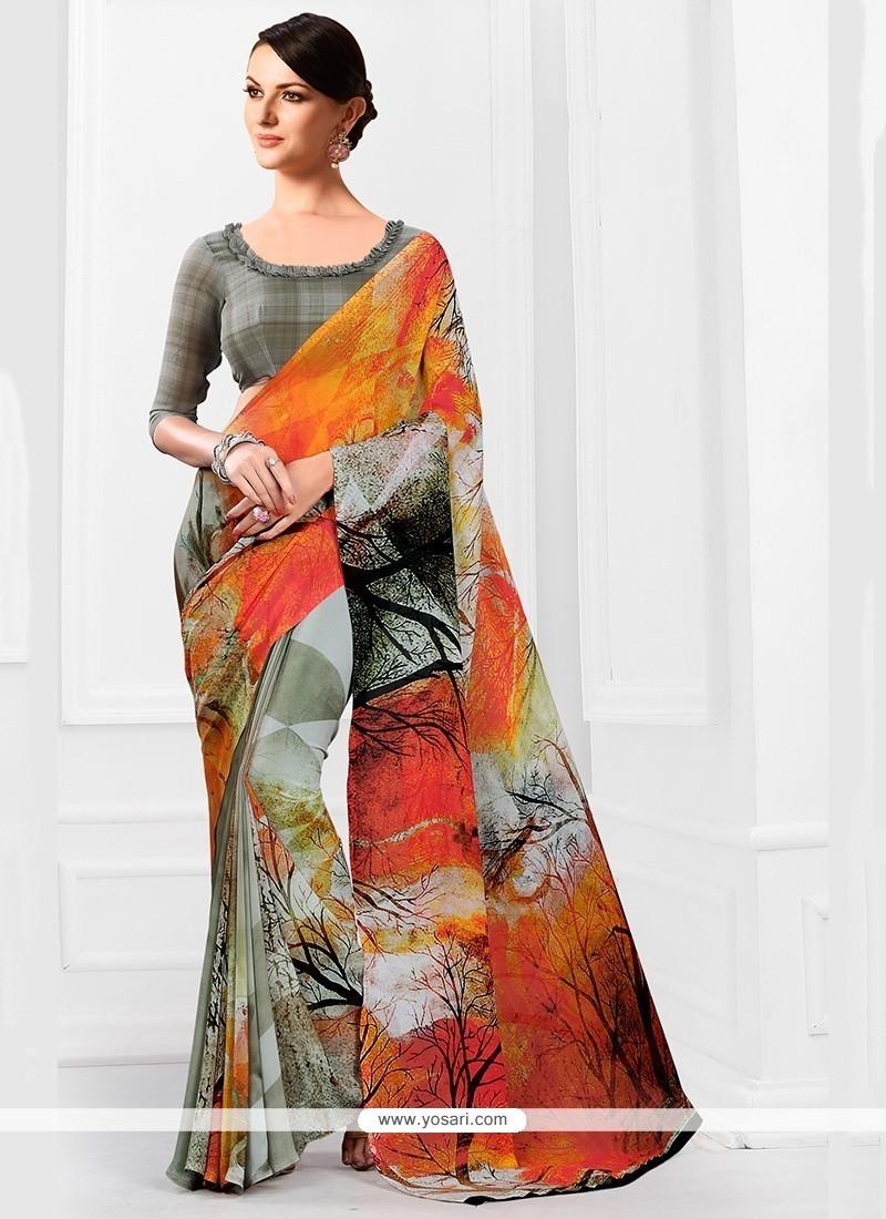 Adorning Georgette Multi Colour Printed Saree