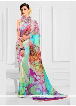 Paramount Georgette Print Work Printed Saree
