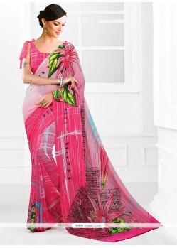 Delightful Georgette Print Work Printed Saree