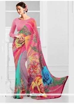 Integral Multi Colour Print Work Georgette Printed Saree