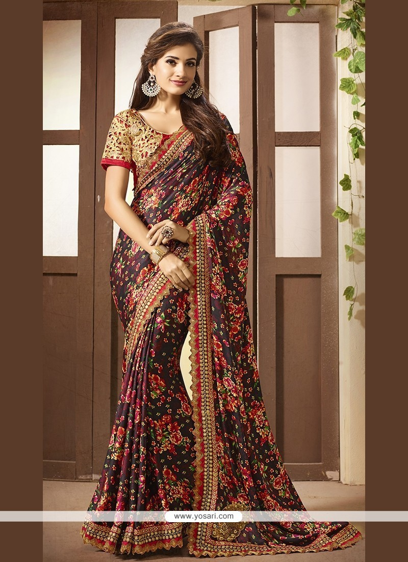 Distinctively Multi Colour Printed Saree