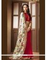 Print Faux Crepe Printed Saree In Red