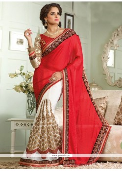 Off White And Red Georgette Half And Half Saree