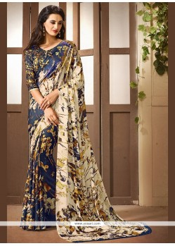 Conspicuous Faux Crepe Printed Saree