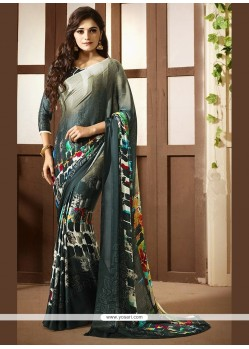 Enchanting Faux Crepe Multi Colour Printed Saree