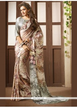 Intrinsic Multi Colour Faux Crepe Printed Saree