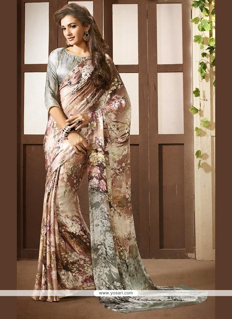 Intrinsic Multi Colour Faux Crepe Printed Saree