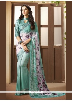 Prepossessing Faux Crepe Print Work Printed Saree