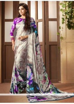 Lovable Faux Crepe Multi Colour Printed Saree