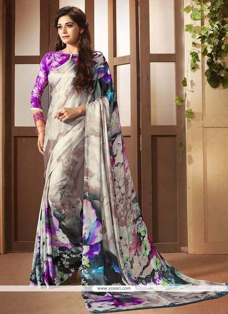Lovable Faux Crepe Multi Colour Printed Saree