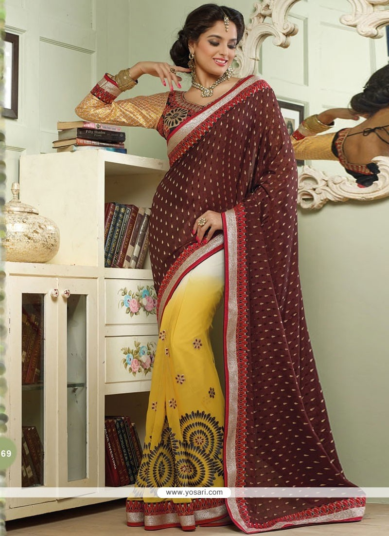 Markable Brown Viscose Half And Half Saree