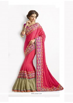 Gleaming Chiffon Satin Patch Border Work Designer Traditional Sarees