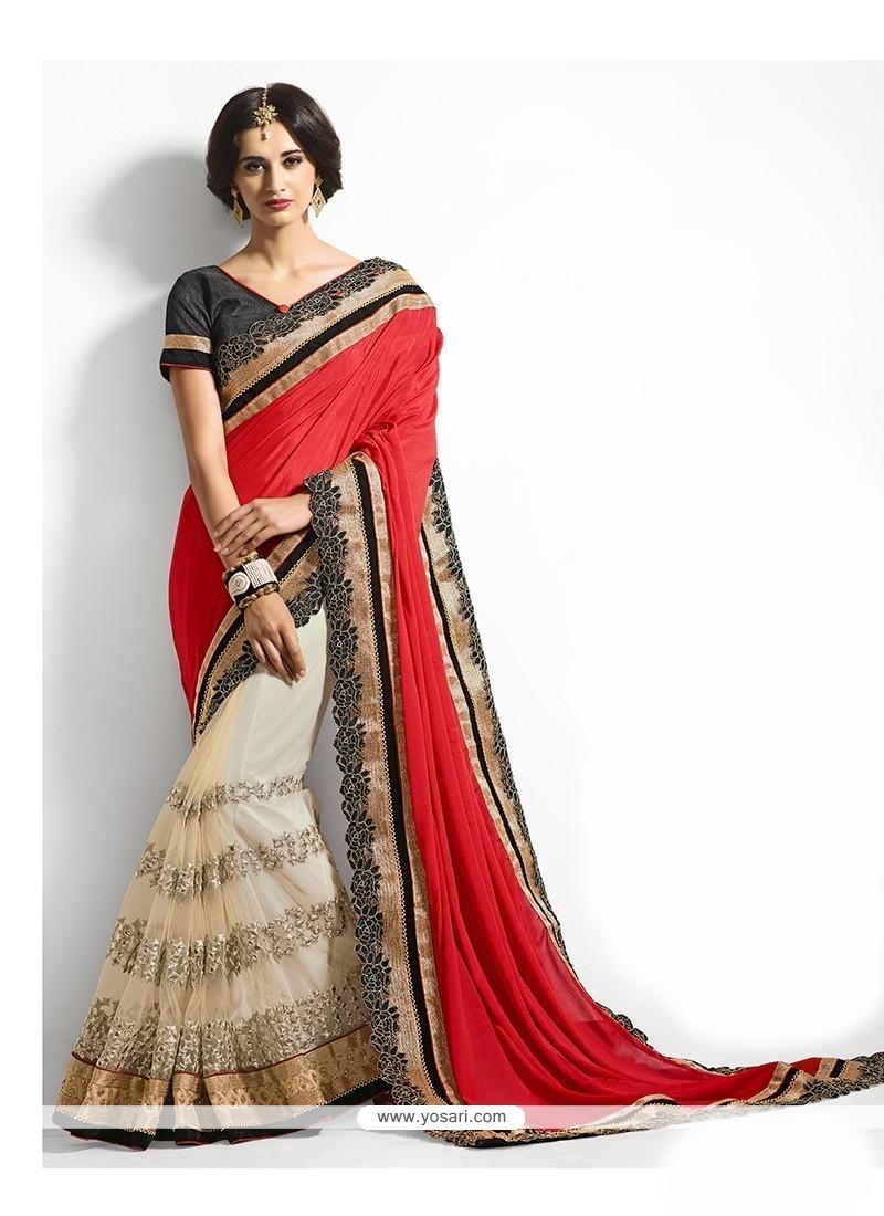 Distinctively Cream And Red Classic Designer Saree