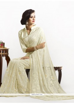 Gorgonize Cream Embroidered Work Faux Chiffon Designer Saree