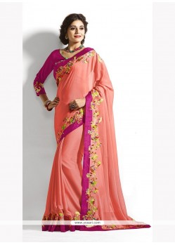 Piquant Chiffon Satin Peach Trendy Saree