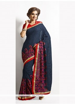 Astounding Embroidered Work Navy Blue Classic Saree