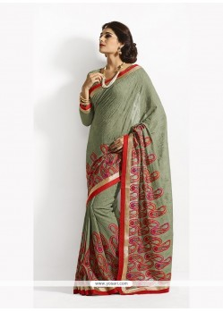 Flamboyant Georgette Green Designer Saree
