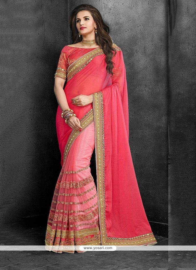 Opulent Faux Chiffon Pink Patch Border Work Traditional Saree