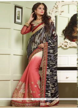 Multicolor Brasso Georgette Half And Half Saree