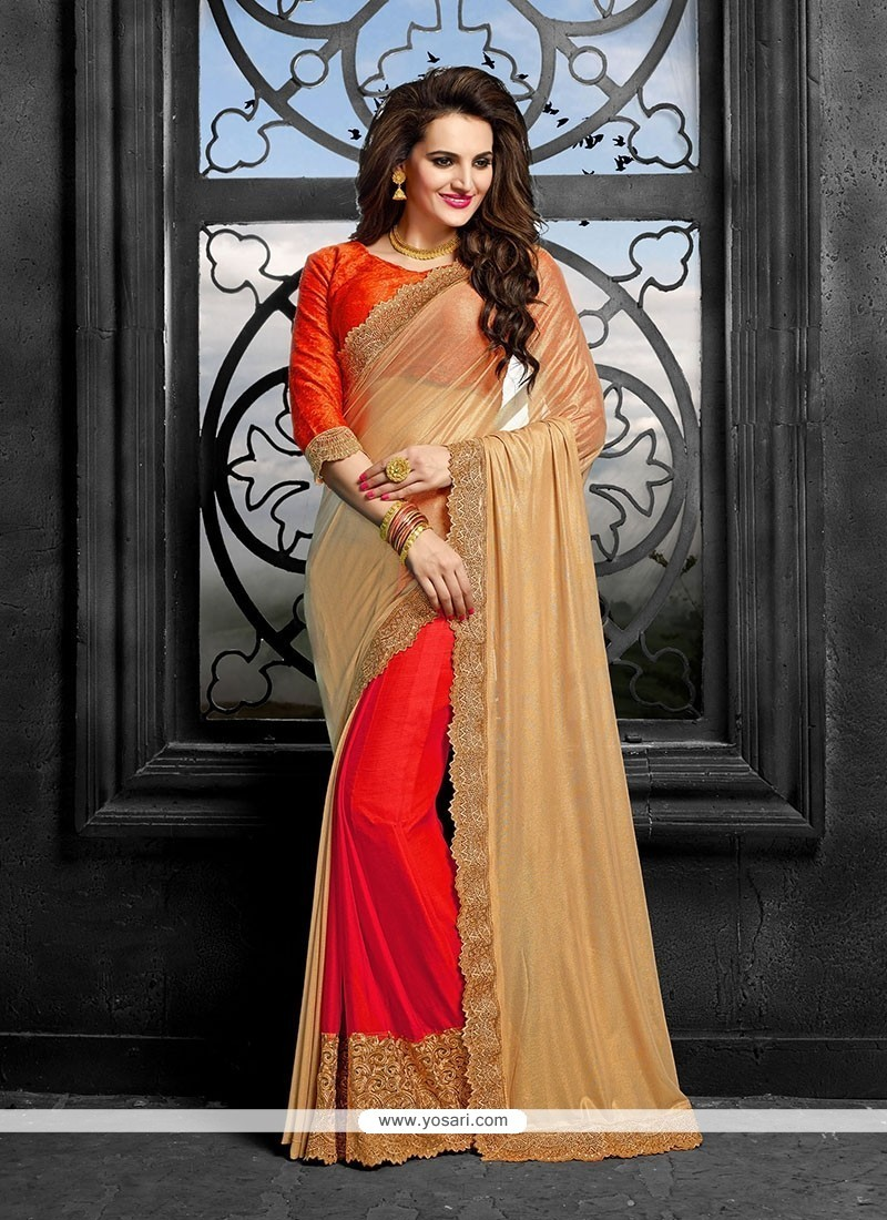 Fashionable Red Patch Border Work Classic Saree