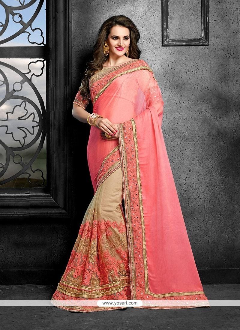 Miraculous Faux Chiffon Pink Designer Traditional Sarees