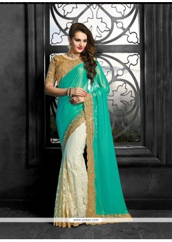 Exotic Patch Border Work Turquoise Trendy Saree