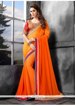 Gorgonize Orange Bamber Georgette Classic Saree
