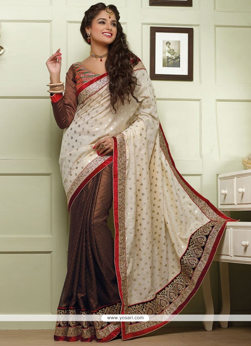 Brown And Off White Shimmer Georgette Saree