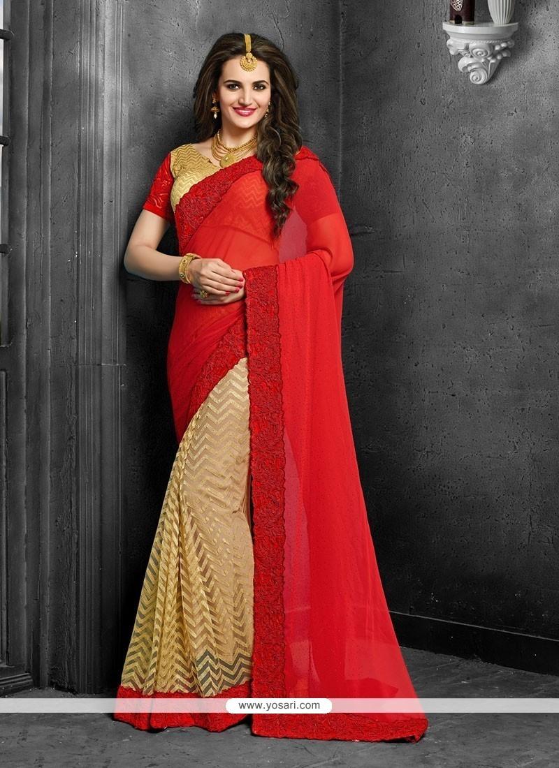 Embroidered Net Designer Saree In Red