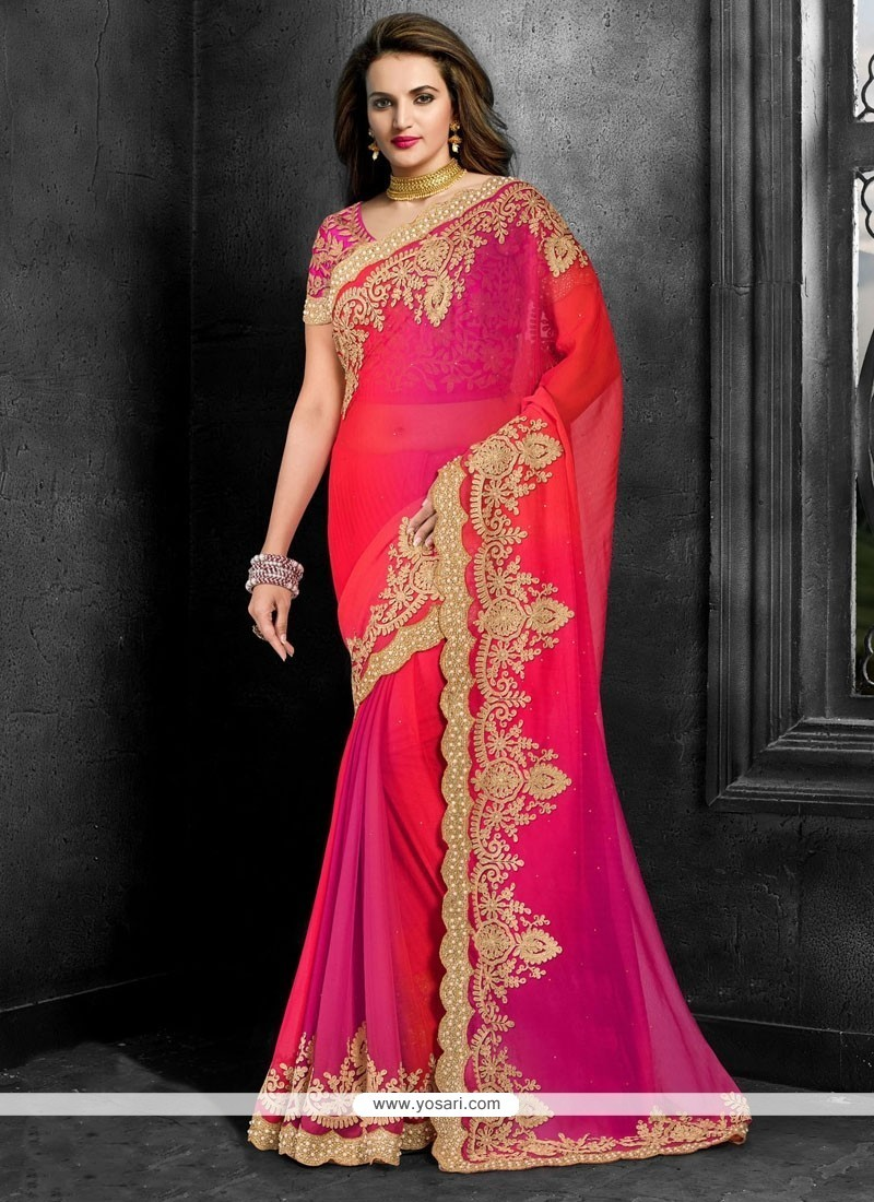 Distinguishable Hot Pink Embroidered Work Traditional Saree