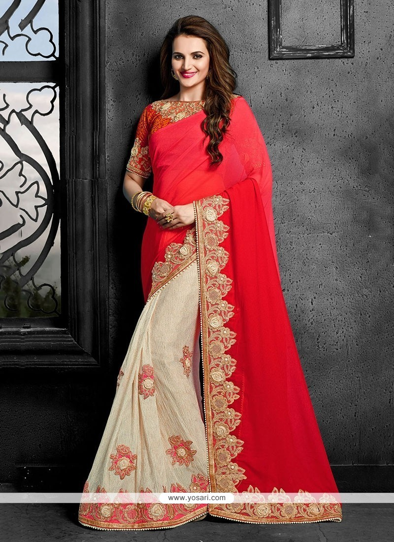 Classy Faux Chiffon Red Designer Traditional Sarees