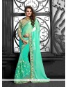 Sterling Turquoise Embroidered Work Classic Saree