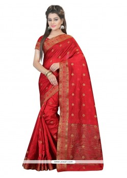 Gleaming Red Designer Saree