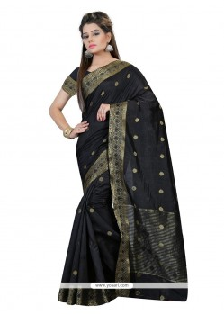 Black Patch Border Work Art Silk Classic Saree