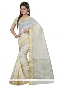Impeccable Off White Patch Border Work Designer Saree