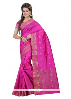 Girlish Hot Pink Art Silk Trendy Saree