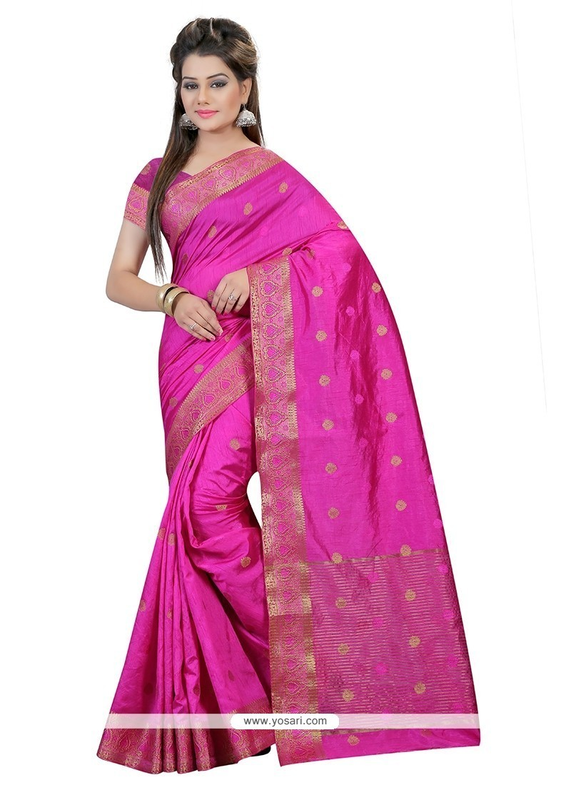 Girlish Hot Pink Art Silk Trendy Saree