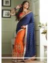 Blue And Orange Net Half And Half Saree