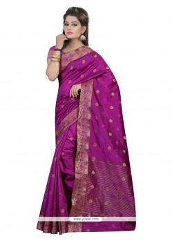 Regal Patch Border Work Magenta Designer Saree