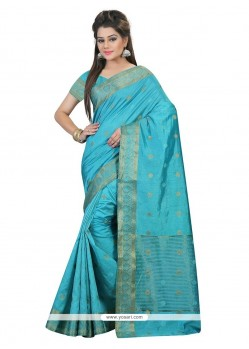 Fab Art Silk Turquoise Patch Border Work Classic Saree