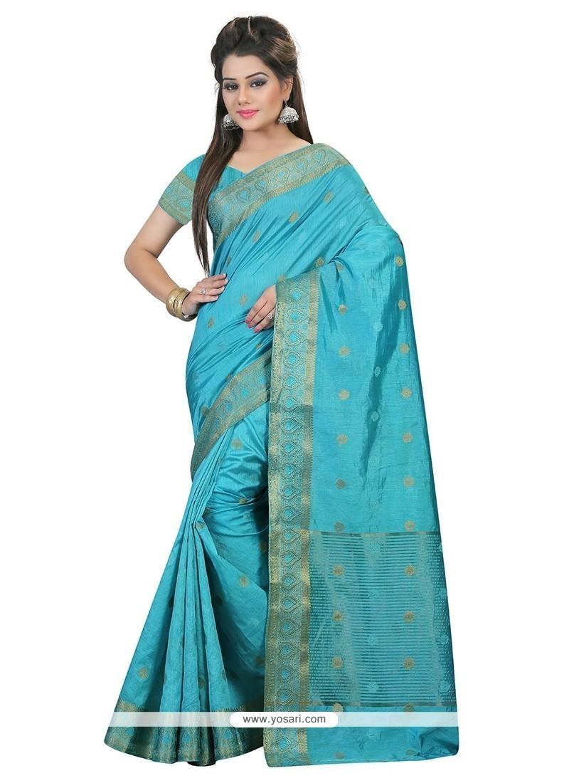Fab Art Silk Turquoise Patch Border Work Classic Saree
