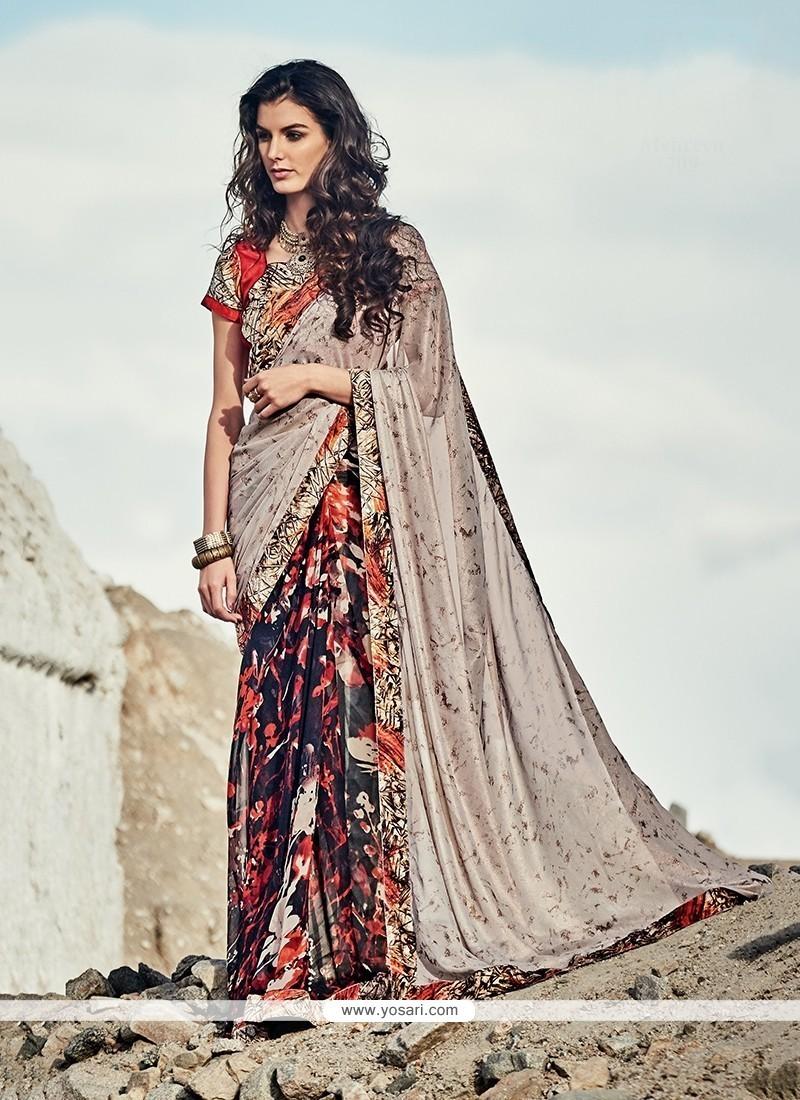 Chic Multi Colour Georgette Printed Saree