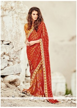 Vivid Print Work Orange And Red Printed Saree