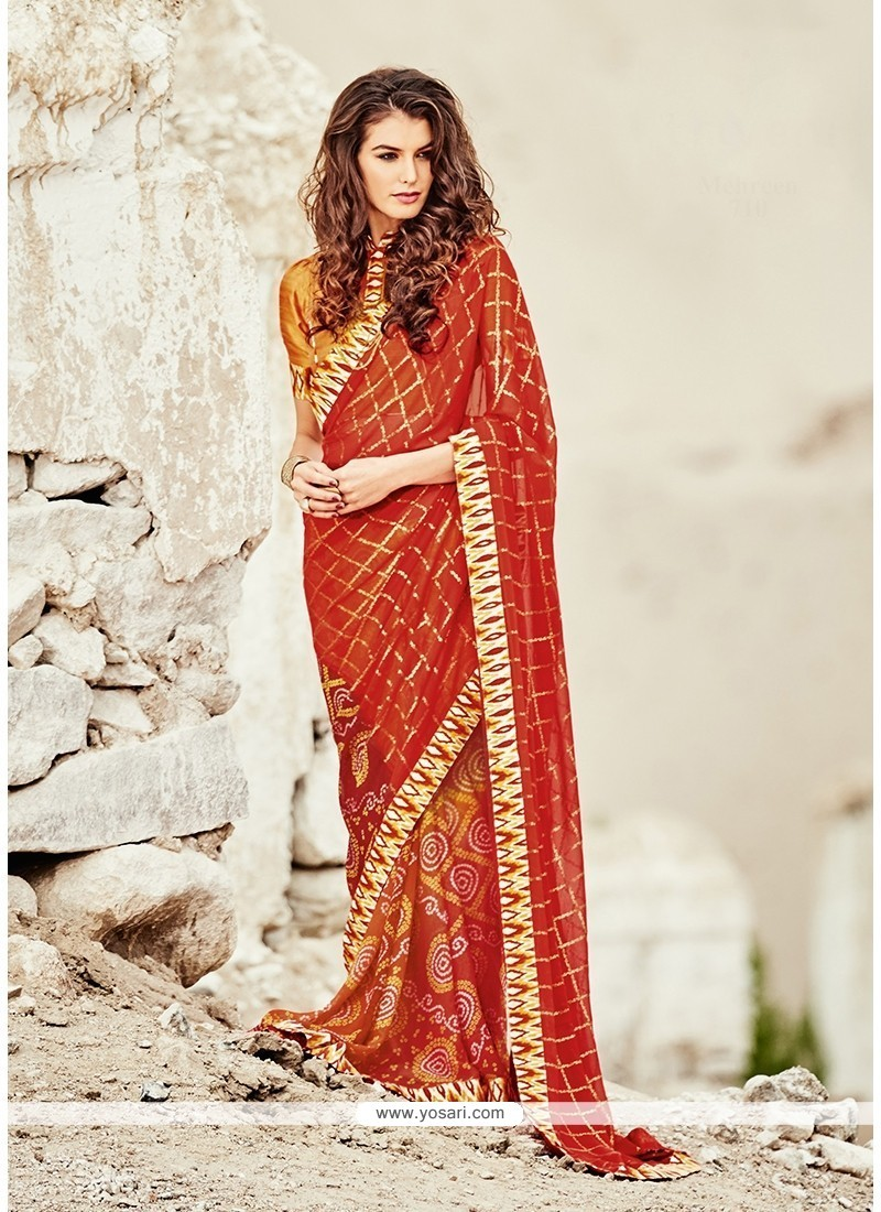 Vivid Print Work Orange And Red Printed Saree