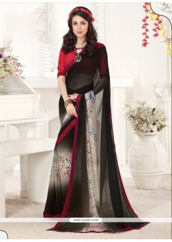 Artistic Print Work Georgette Casual Saree