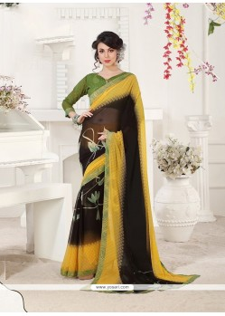 Sparkling Georgette Print Work Casual Saree