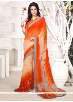 Remarkable Orange Print Work Georgette Casual Saree