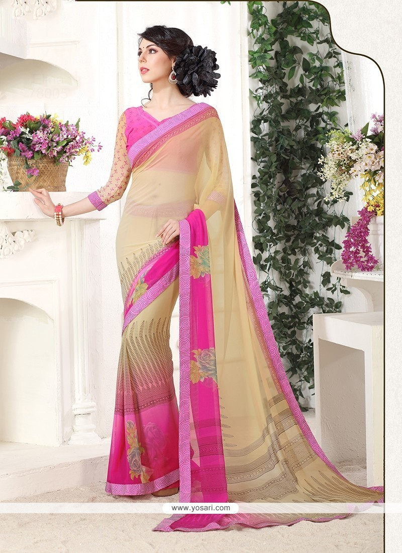 Lovable Georgette Cream And Pink Casual Saree